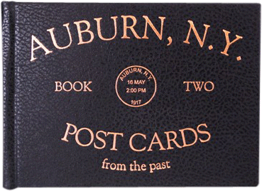 Foil-stamped cover of a book of postcards of Auburn, NY