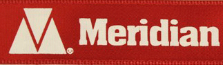 Closeup of Meridian logo stamped in foil