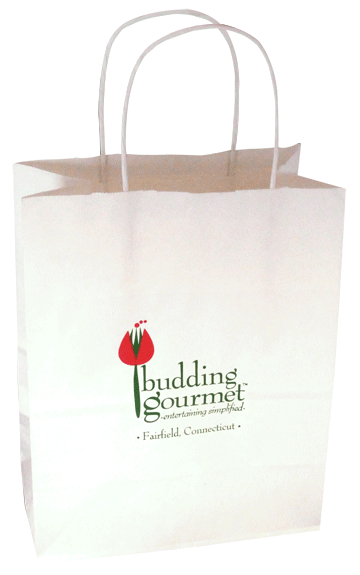 Pigment foil Stamped on Budding Gourmet shopping bag