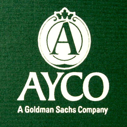 Closeup of AYCO logo stamped in pigment foil