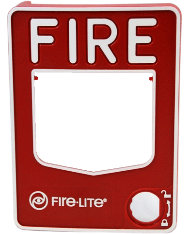 A fire alarm station cover stamped with plastic foil